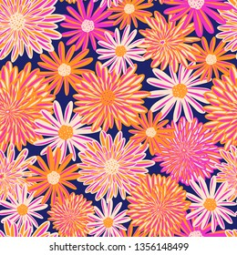 Bright Summer flowers seamless vector pattern. Pink orange white Daisy Dahlia Aster flowers on blue background. Contemporary seasonal floral repeat tile. Hand drawn spring summer art for fabric, decor