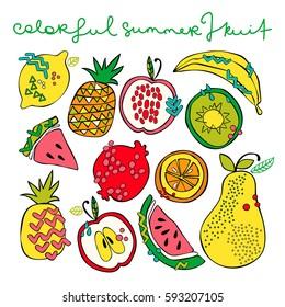 Bright summer fruit: watermelon, kiwi, apple, pear, orange, lemon, pomegranate, pineapple, banana. Isolated vector objects on white background. Fruit set.