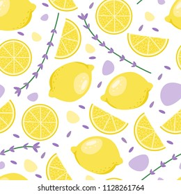 Bright summer fruits seamless illustration with lemon, lavender. Cute vector background. Pattern for fabric, textile, postcards, decoration, design, poster, card, packaging, party