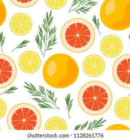 Bright summer fruits seamless illustration with lemon, grapefruit, rosemary. Cute vector background. Pattern for fabric, textile, postcards, decoration, design, poster, card, packaging, party