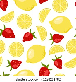 Bright summer fruits seamless illustration with lemon, strawberry. Cute vector background. Pattern for fabric, textile, postcards, decoration, design, poster, card, packaging, party