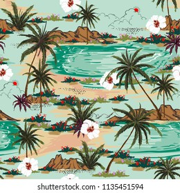 Bright summer hawaii  seamless island pattern vector. Landscape with palm trees,beach and ocean vector hand drawn style on light blue color background.