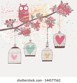 Bright summer illustration with owl, branch and cages in vector. Romantic cartoon background in pastel colors