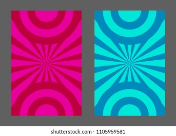 Bright summer kids flyer, abstract cartoon background with rays, invitation to baby birthday, circus. Vector illustration