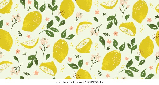 Bright summer lemon fruit seamless pattern background with flowers, leaves and blossoms