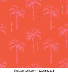 Bright  Summer Palm and coconut trees silhouette on the vivild orange background. Vector seamless pattern with tropical plants design for fashion,fabric wallapaper and all prints