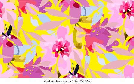 Bright summer pattern with cute pink flowers. Seamless floral background with watercolour flowers in vector format. Spring delicate and colourful texture with aquarelle trendy flowers.