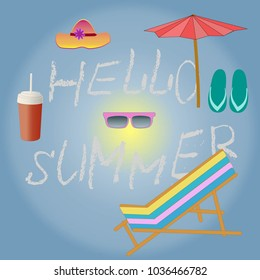 "Bright summer poster. A set of elements for the summer vacation. Message ""Hello Summer"""