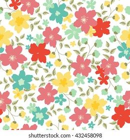 Bright summer seamless pattern with floral pattern. Print on fabric, clothing, surfaces, labels and banners. Vector illustration.