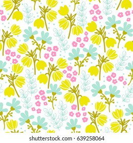 Bright summer seamless pattern with flowers and branches. Charming design in pastel shades for labels, tags, tissue and wrapping paper. Vector illustration.