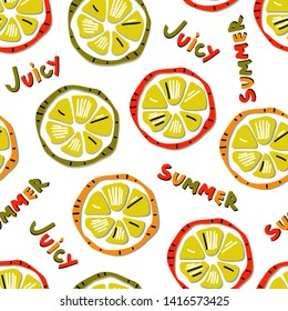 Bright summer seamless pattern with juicy citrus slices. Hand drawn lettering Juicy Summer. Design elements for banners, cards, textiles with papercut effect. Vector.