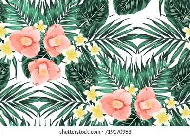 Bright summer seamless pattern texture with green tropical jungle palm tree monstera leaves, pink camelia and yellow plumeria flowers composition. Vector design illustration on white background.