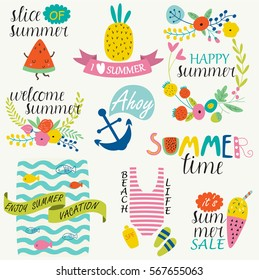 Bright summer set with cute illustrations in cartoon style