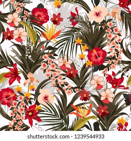 Bright summer  tropical background with jungle plants.Vector exotic pattern with palm leaves and flowers,orchid seamless vector design for fashion,fabric wallpaper and all prints on white