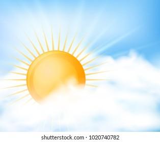 Bright sun in blue sky illustration
