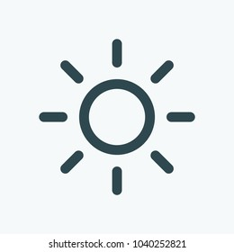 Bright sun icon, summer sun lighting vector icon