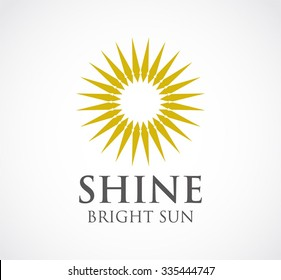 Bright of sun shine abstract vector and logo design or template gold circle business icon of corporate identity symbol concept