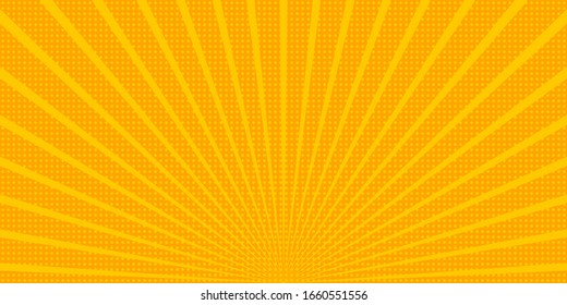 Bright sunbeams background with dots. Abstract background with halftone dots design. Vector illustration