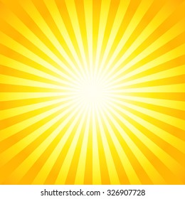 Bright sunbeams, shiny summer background with vibrant yellow & orange colors. Perfect light striped background.