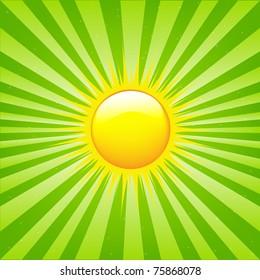Bright Sunburst With Beams And Sun, Vector Illustration