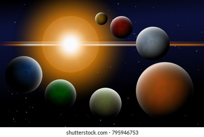 Bright Sunlight in the Cosmos. Colorful Planets on Gradient Background. Space Abstraction. Planets in Space for Banner, Poster, Card, Web Design, Presentation, Wallpaper. Cosmos.