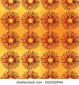Bright sunny floral seamless pattern with sunflowers, orange outline on yellow background, sketch, doodle style. Vector hand drawing illustration of a floral cartoon card.