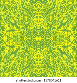 Bright sunny psychedelic trippy abstract mandala with original patterns, juicy contour green on a yellow background.  Surreal stylish card. Vector illustration. Doodle style. Shamanic fantasy texture