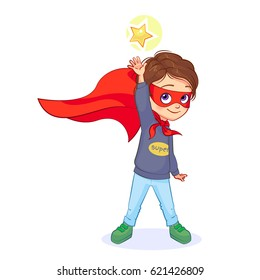 Bright super boy with red mask and long cloak, vector isolated drawing. Cute little super hero reaches out to a sparkling star.