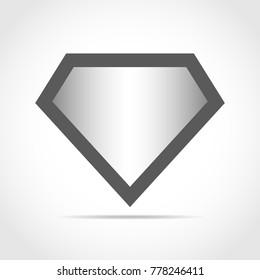 Bright superhero color logo on light background. Vector illustration. Gray superhero logo