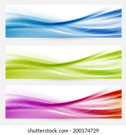Bright swoosh lines headers footers templates. Vector illustration