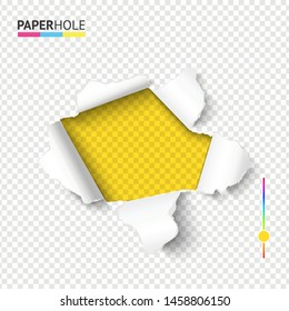 Bright tear off edge paper hole poster with torn cardboard pieces on transparent background for message revealing concepts.