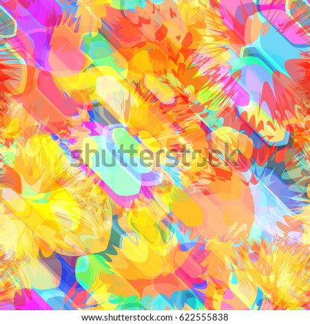 Bright Texture With Spots, Geometric And Sharp Elements. Abstract Seamless  Background For Fabric,