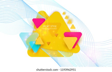 Bright Textured Background with multicolored triangles modern dynamic geometric background poster for sports playing football basketball or croquet. Vector illustration on a white background.