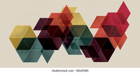 Bright Transparent Gradient Cube Background