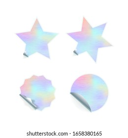 Bright trendy adhesive stickers with hologram pattern isolated on white