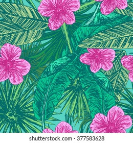 Bright tropic seamless pattern with hand drawn leaves and flowers