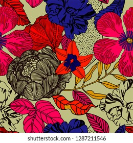 Bright tropical background with exotic plants and fruits.