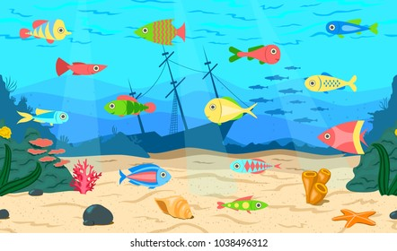 Bright tropical fish in the ocean. Seabed. Vector illustration.