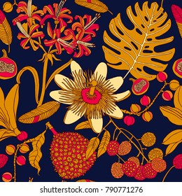 Bright tropical flowers and fruits, exotic pattern design.