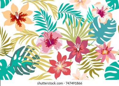 Bright tropical flowers and palm leaves on white background. Seamless botanical pattern with aloha motifs. Trendy design for textile, cards and invitations.