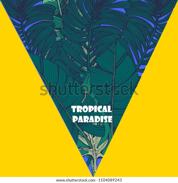 bright tropical illustration, palm leaves, hand drawing, ink, vector