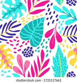 Bright tropical leaves. Seamless pattern with floral elements. textile collection.
