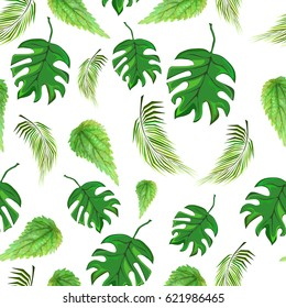 bright tropical and nettle leaves, seamless pattern