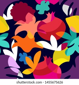 Bright tropical painting. Seamless vector pattern with geometric fruits, leaves and flowers. Summer swimwear textile collection. Colorful on dark.