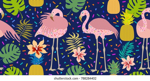 Bright tropical print. Seamless vector pattern with pink flamingos and golden pineapples. Trendy textile design for shirts, dresses, bags and carpets. Hawaiian collection. On dark blue background.
