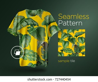 Bright tropical seamless pattern with jungle plants. Exotic background with palm leaves. Vector illustration