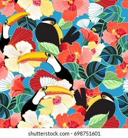 Bright tropical seamless pattern of toucans among flowers on the sky