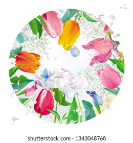 Bright Tulips, Peonies, Irises, Hydrangeas. Floral vector round plate in watercolor style for Women's Day 8 March, Valentine's Day,  Mother's Day, seasonal sales, cards, banners, posters, weddings
