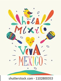 """Bright typographic """"Viva Mexico/Hola Mexico"""" and colorful illustrations in vector format."""