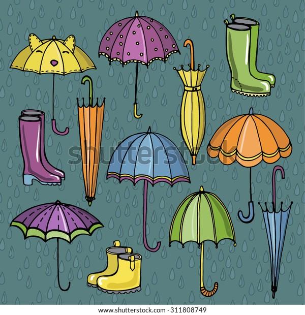 37ceacdbf0 Bright Umbrellas Gumboots Against Rain Drops Stock Vector (Royalty ...